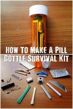 How To Make A Pill Bottle Survival Kit - These little pill bottle survival kits have the bare minimum to survive a night or two in the wild. The pill bottle has one more ace up it's sleeve too, its water proof so your kit can get submerged and you will ha Camping Survival, Survival Life Hacks, Survival Supplies, Emergency Supplies, Survival Food, Wilderness Survival, Outdoor Survival, Survival Knife, Survival Prepping