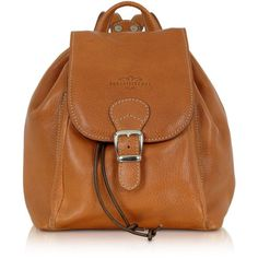 Robe di Firenze Handbags Camel Italian Leather Backpack (2.300 DKK) ❤ liked on Polyvore featuring bags, backpacks, bolsas, purses, accessories, handbags, camel, drawstring bag, brown leather bag and buckle flap backpack