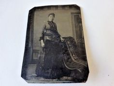 Old Vintage Antique Tintype Photo Lady All Dressed Up in Her Finest