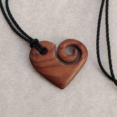 #heart #koru #necklace I carved from rosewood(Diy Necklace Pendant)