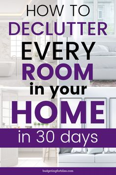 Declutter Your Home in 30 Days - - Does the clutter in your home fill you with stress and anxiety? Try this 30 Day Home Decluttering Challenge to help you eliminate the mess and the stress. Declutter Home, Declutter Your Life, Declutter And Organise, Declutter Bedroom, House Cleaning Tips, Spring Cleaning, Cleaning Challenge, Clutter Control, Clutter Organization
