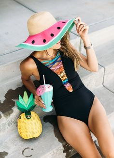 Black Swimsuit W/ Cute Colorful Details
