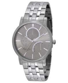 Kenneth Cole. Slim multifunction watch with silver link strap.