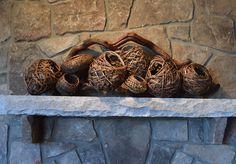 Artist Matt Tommey makes hand woven modern rustic contemporary decor woven sculpture from locally harvested natural materials in Asheville, North Carolina. Modern Rustic Decor, Rustic Contemporary, Basket Weaving, Hand Weaving, Woven Baskets, Fireplace Mantels, Mantels Decor, Mantle, Nature Artwork