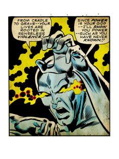 Marvel Comics Retro: Silver Surfer Comic Panel, Unleashing Power (aged)