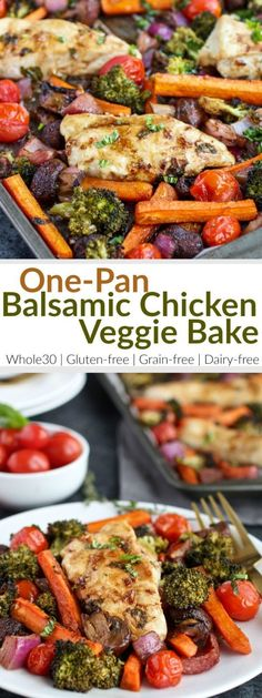 Healthy, easy & delicious! One-Pan Balsamic Chicken Veggie Bake is quick to prep and in the oven for less than 20 minutes. A gluten-free, grain-free, dairy-free and Whole30-friendly recipe.   therealfoodrds.com