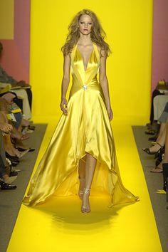Marc Bouwer yellow satin gown NYC Fashion Week  www.fashion.net