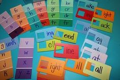 Word work-Word Families Activity using Paint Chips - With link to a large list of word families to use to create this activity! Perfect for teaching word families and rhyming skills. Also great as a nonsense word generator. Awesome use of paint chips! Word Study, Word Work, Learning Tools, Kids Learning, Learning Cards, Literacy Activities, Literacy Centers, Early Literacy, Creative Activities