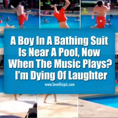 A Boy In A Bathing Suit Is Near A Pool, Now When The Music Plays? I'm Dying Of Laughter funny video videos funny videos viral viral videos viral right now hilarious videos