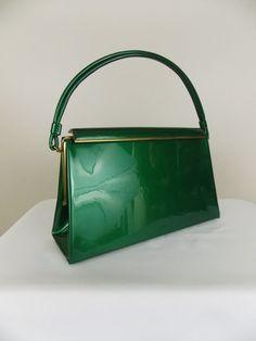 1950's Bright green patent handbag [wow.]