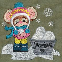Threadsketches' set Winter Friends - Christmas embroidery designs, Big Black Friday Sale!, snowball stand mouse