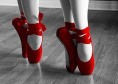 ballerina, ballet, pointe, red, shoes