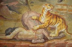 Mosaic: Pair of Centaurs Fighting Cats of Prey from Hadrian's Villa, c. 130 AD, the tiger has mortally wounded the Centauress, Altes Museum Berlin
