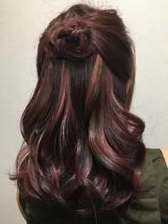 Rose gold highlight on dark brown base. Hair color created by Victor Liu.