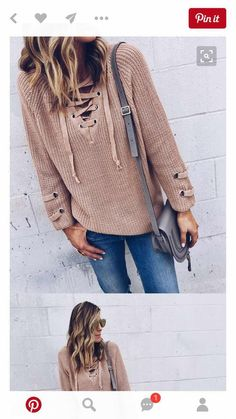 f0f31b7f385 Long Lace Up Knitted Sweater for Women Cute Fall Outfits 2016
