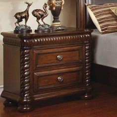 Accent your bedside with the chic, transitional design of the Grand Eclair 2 Drawer Nightstand - Brown Cherry . The solid wood construction of this. Cherry Nightstand, 3 Drawer Nightstand, Nightstands, House Furniture Design, Home Furniture, Kitchen Furniture, Garden Furniture, Furniture Disposal, Mirrored Bedroom Furniture