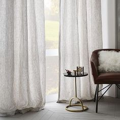 Striped Belgian Linen Curtain #westelm