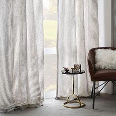 Striped Belgian Linen Curtain #westelm