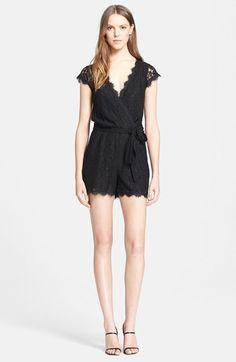 $198, Black Lace Playsuit: Diane von Furstenberg Purdette Lace Romper. Sold by Nordstrom. Click for more info: https://lookastic.com/women/shop_items/243724/redirect