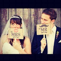 Cute bride & groom picture idea.