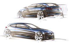 BMW concept car automotive design colored illustation sketch