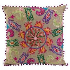 """Embroidered cotton pillow with pom-pom trim.  Product: PillowConstruction Material: Cotton and poly fillColor: MultiFeatures:  Insert includedEmbroidered Dimensions: 20"""" x 20"""""""