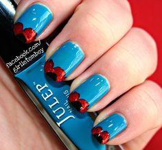Veterans Day Poppy Tips Nails