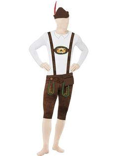 Bavarian Second Skin Costume with hat, bumbag, concealed fly and under chin opening. Hilarious costume for Oktoberfest or great at stag parties!