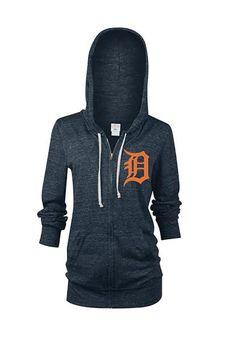 Detroit Tigers Womens Full Zip Jacket - Navy Blue Tigers Rhinestone Long Sleeve Full Zip