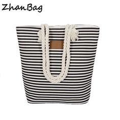 84e157a6f4c Beach Bag Stripes Canvas Shoulder Bag Large Capacity Zipper Totes Casual  Handbag