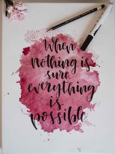 Tutorial: watercolor stain with handlettering saying on Keilrah .- Tutorial: Aquarellfleck mit Handlettering Spruch auf Keilrahmen Watercolor stain with handlettering slogan on stretcher – tutorial - Calligraphy Quotes Doodles, Brush Lettering Quotes, Watercolor Lettering, Calligraphy Handwriting, Calligraphy Letters, Fonts Quotes, Brush Pen Calligraphy, Watercolor Quote, Quotes Quotes