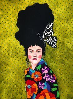 Hulya Ozdemir – Art and Her Illustrations, Illustration Art, Arte Pop, Woman Drawing, Art Plastique, Portrait Art, Lovers Art, Altered Art, Collage Art