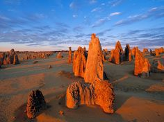 Limestone formations known as the Pinnacles rise out of desert sands in Western Australia's Nambung National Park. Located outside the Turquoise Coast town of Cervantes, the park is also home to white-sand beaches and a springtime bounty of wildflowers. Photograph by Christian Heeb, laif/Redux. September 29, 2013