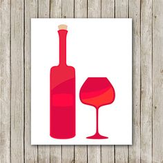 Wine Bottle and Glass Art Print - Instant Download Printable    You'll receive an 8x10 inch printable INSTANT DOWNLOAD of a wonderfully Kitchen Gallery Wall, Glass Art, Printable, Wine, Art Prints, Bottle, Unique Jewelry, Handmade Gifts, Etsy