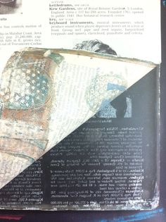 A happy accident when I was using an old encyclopedia page to pull a gelli print. The text resisted and left paint on the plate.   Monalisaprints