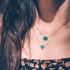 14kt yellow gold and diamond petite triangle emerald necklace – Luna Skye by Samantha Conn