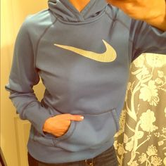 Nike therma-fit perfect condition large hoodie. Nike therma-fit perfect condition large hoodie. Lite blue with a woven Nike swoosh. Comfy and loose fitting. Fits more like a M/L than a true large. Smoke and pet free home. Nike Tops Sweatshirts & Hoodies