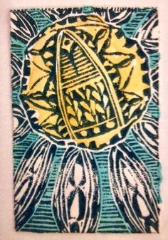 Good morning sunshine!  My lino print with watercolor paints  http://artistholiday.blogspot.com