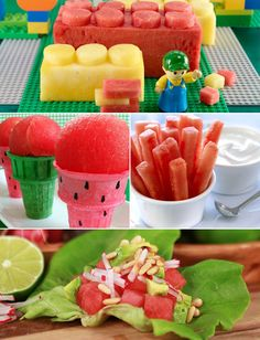 What-a-Melon! 15 Fun Ways to Serve Up Watermelon For Kids. [Ignore the ones that obviously require skill in food art but I liked the 'cones' and 'dippers']
