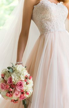 Pretty blush wedding dress.