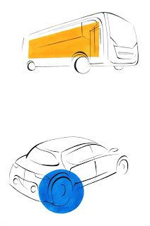 Vehicles, bus and car.