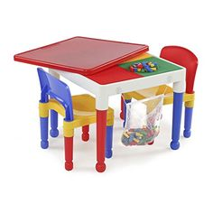 Tot Tutors 2-in-1 Plastic LEGO-Compatible Construction Table & 2 Chairs Set New * Read more  at the image link.
