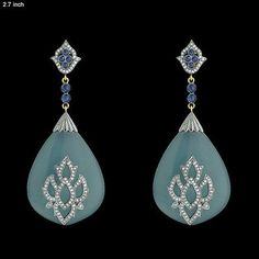 nice 50.5ct Agate Sapphire Pave Diamond 18k Gold 925 Sterling Silver Dangle Earrings