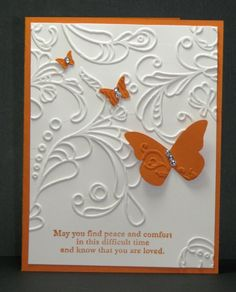 Pumpkin Pie and Very Vanilla go so well together (yum!) and I used the Elegant Lines embossing folder as the main layer.