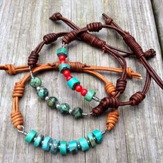 Arizona Turquoise and coral wired leather bracelet, knotted boho rustic jewelry // Svetlana Davidova Rustic Jewelry, Wire Jewelry, Boho Jewelry, Beaded Jewelry, Jewelery, Jewelry Design, Beaded Necklace, Country Jewelry, Jewelry Knots