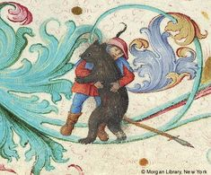 Man wrestling a bear, from the 'Geese Book' Gradual, made in Germany, 1507-10 (via).