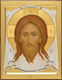 Image of Christ Not-Made-By-Hands - Icons from the Workshop of St. Elisabeth Convent - Handmade - Hand-Painted - Visit our website for more information: http://catalog.obitel-minsk.com/icon-painting #CatalogOfGoodDeeds #Orthodox #Eastern #Church #Orthodoxy, #Miracle, #Blessed #Faith #Holy #Jesus #Christ #Savior