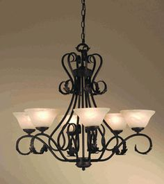 Rustic Traditional Black Wrought Iron Chandelier Dining Room Pendant