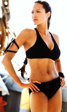This is totally the badass Angelina Jolie in Tomb Raider, she is so fantastic! A Fit, healthy, strong woman!