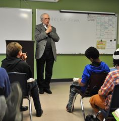 Holocaust survivor Charles Fodor spoke to Friends School of Minnesota 7th and 8th graders about his experiences.
